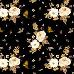 "4"" Gold and Ivory Florals - Black"
