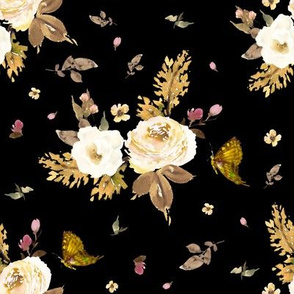 "8"" Gold and Ivory Florals - Black"