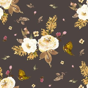 "8"" Gold and Ivory Florals - Brown"