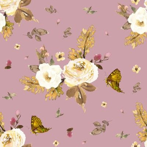 "8"" Gold and Ivory Florals - Winter Mauve"