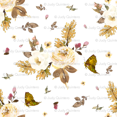 """8"""" Gold and Ivory Florals - White"""