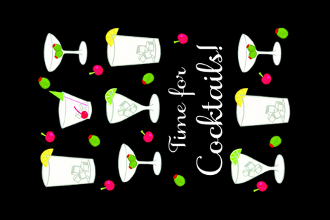 Time for Cocktails Tea Towel FQ fabric by phyllisdobbs on Spoonflower - custom fabric