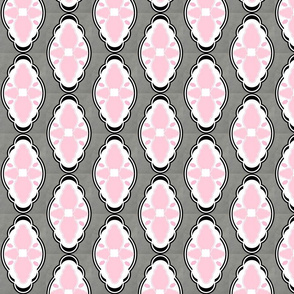 Damask LG 281 - white gray pink diamond