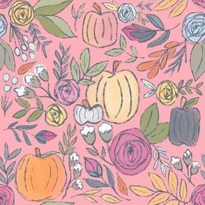 Pumpkin Spice Florals on Pink