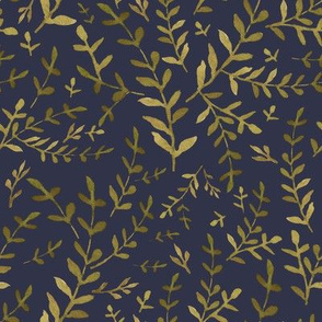 "8"" Autumn Harvest Leaves Muted Navy"
