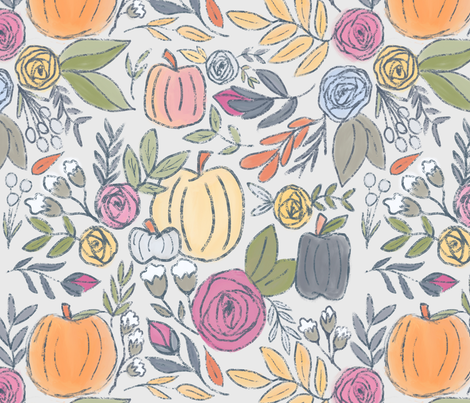 Pumpkin Fall Florals on Light Gray  fabric by smallhoursshop on Spoonflower - custom fabric