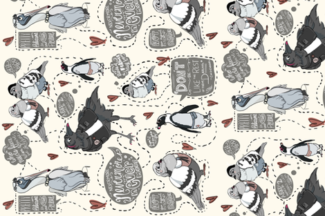 rebel birds with a cause fabric by tiffanyagam on Spoonflower - custom fabric