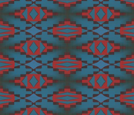 Native American Cherokee Blanket Navy Red fabric by fabric_is_my_name on Spoonflower - custom fabric