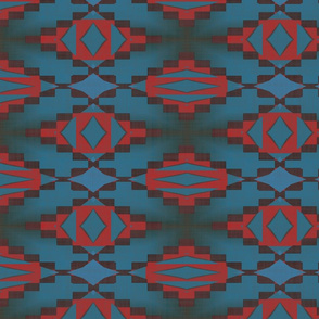 Native American Cherokee Blanket Navy Red