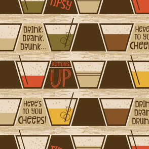 Retro Bar Cart ~ Lowball drinks ~ Birch Bark