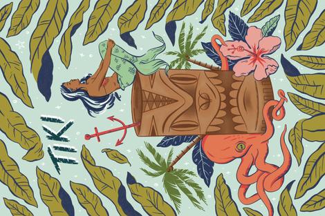 Tiki Tea Towel fabric by khubbs on Spoonflower - custom fabric