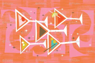 Retro Drinks Tea Towel M+M Tangerine by Friztin