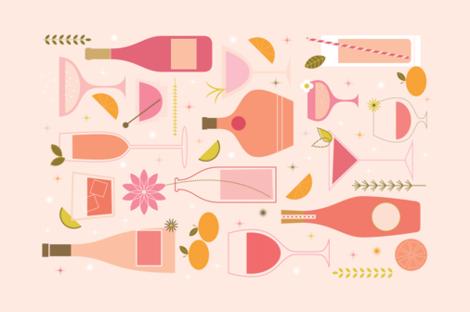 Rosé All Day - Tea Towel fabric by katerhees on Spoonflower - custom fabric