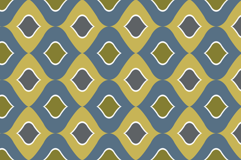 Retro Tea Towel blue green fabric by abbeyrow on Spoonflower - custom fabric