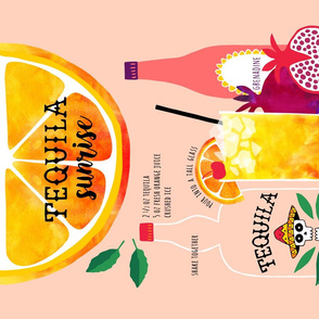 Tequila Sunrise Cocktail recipe tea towel