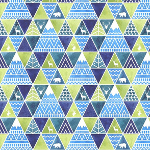 Geometric triangle blue and green  modern patterns