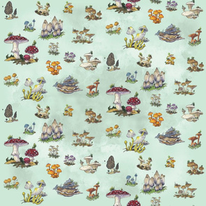 Tiny Dreams of Mushrooms in Green