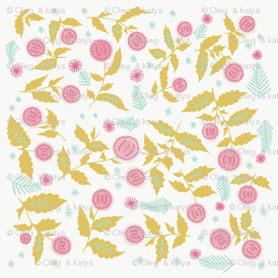 Roses Barocco flowers abstract pattern Retro victorian detailed classical background
