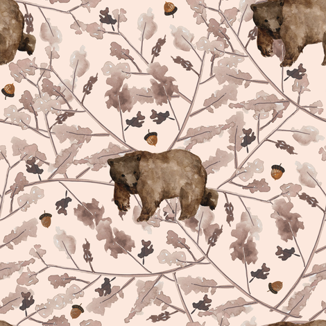 "8"" Fall Branches and Bear - Sorbet fabric by shopcabin on Spoonflower - custom fabric"