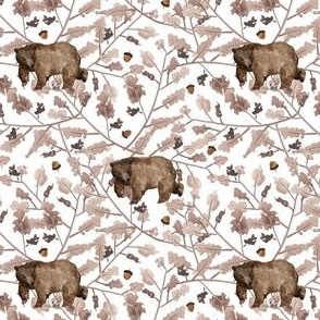 """4"""" Fall Branches and Bear - White"""
