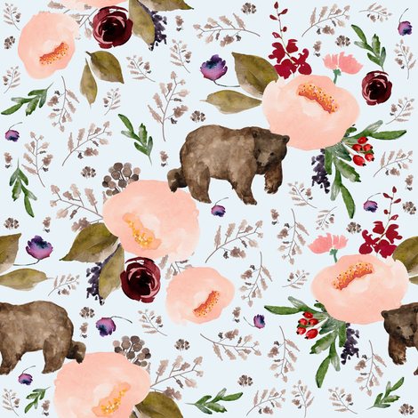 "8"" Floral Trail Bear - Ice fabric by shopcabin on Spoonflower - custom fabric"