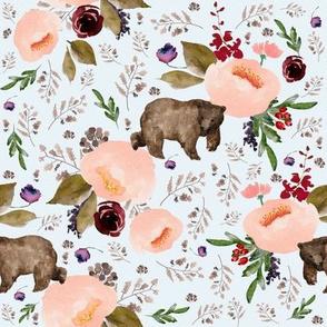 "8"" Floral Trail Bear - Ice"