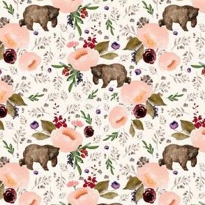 "4"" Floral Trail Bear - Ivory"