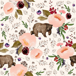 "21"" Floral Trail Bear - Ivory"