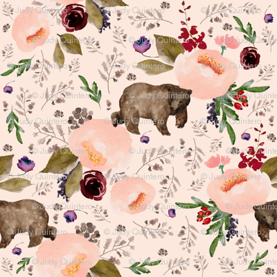 "4"" Floral Trail Bear - Sorbet"