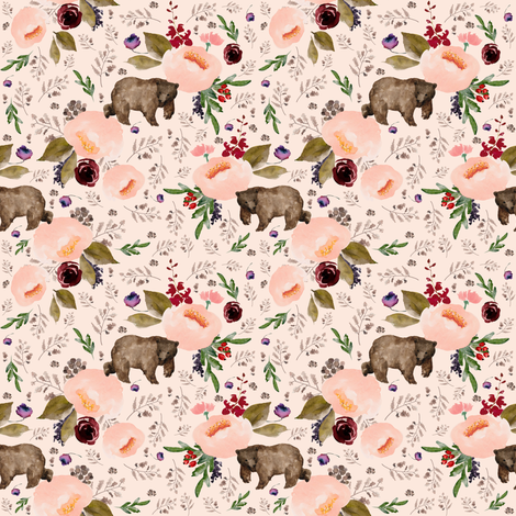 "4"" Floral Trail Bear - Sorbet fabric by shopcabin on Spoonflower - custom fabric"