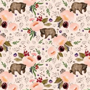 "4"" Floral Trail Bear - Sorbet"