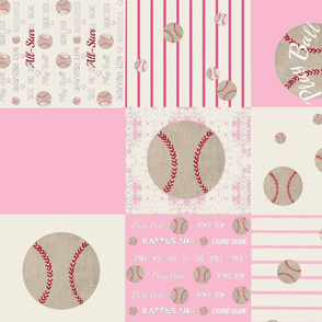 pink  baseball quilt LG21 - wholecloth