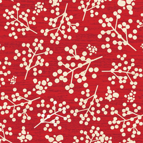 Farmhouse Twigs - Papyrus On Flame Scarlet