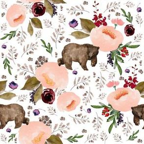 "8"" Floral Trail Bear - White"