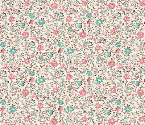 Sweet French Floral 161 from 1920's fabric by tracymillerdesigns on Spoonflower - custom fabric