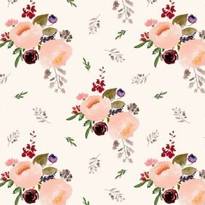 """4"""" Floral Trail Bouquet - Ivory"""