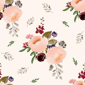 """8"""" Floral Trail Bouquet - Ivory"""