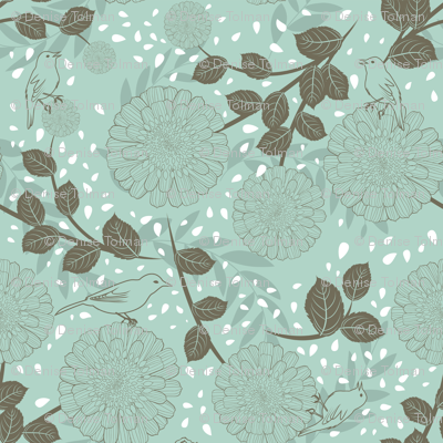 Flowers and birds on teal green