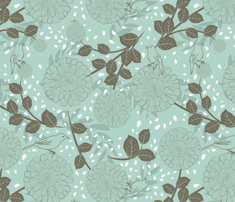 Flowers and birds on teal green fabric by fabric_is_my_name on Spoonflower - custom fabric
