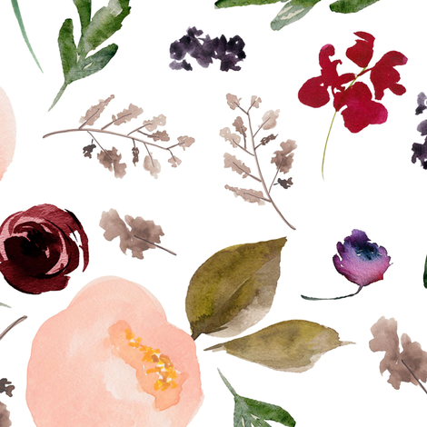"""18"""" Trail Florals - White fabric by shopcabin on Spoonflower - custom fabric"""