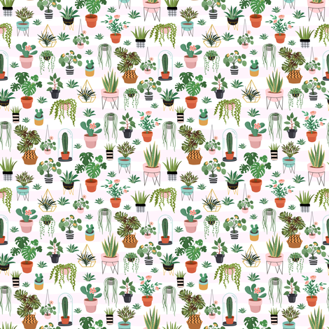 "4"" Happy Place Garden - Light Pink Stripes fabric by rebelmod on Spoonflower - custom fabric"