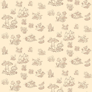 Tiny Dreams of Mushrooms in Red Toile