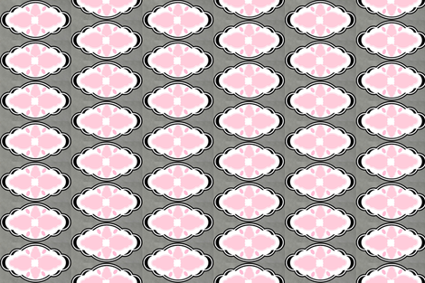 Damask LG 451 VERTICAL - white gray pink diamond fabric by drapestudio on Spoonflower - custom fabric