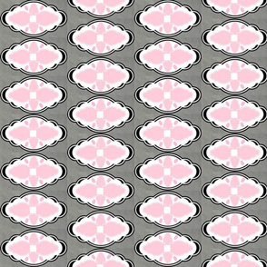 Damask LG 451 VERTICAL - white gray pink diamond