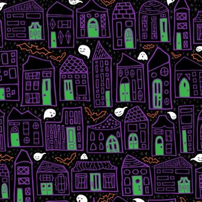 Happy Halloween in the City // Quirky Haunted House Neighborhood with Bats + Ghosts in Purple, Black, Green, and Orange