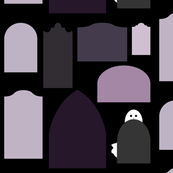 purple tombstones with ghost