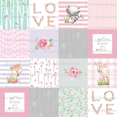 "3"" BLOCKS- Woodland Patchwork- I Love You a Bushel and a Peck Quilt Top - Baby Girl Blanket Gray Lavender Pink"