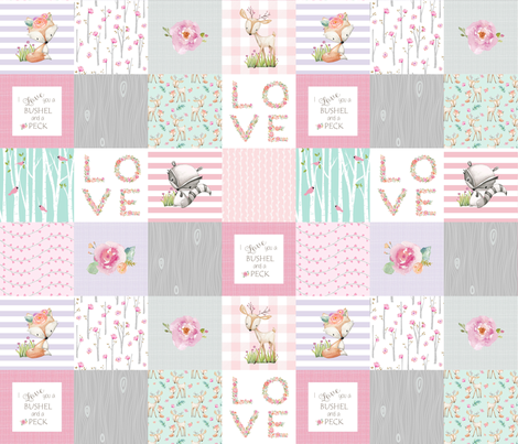 "3"" BLOCKS- Woodland Patchwork- I Love You a Bushel and a Peck Quilt Top - Baby Girl Blanket Gray Lavender Pink fabric by gingerlous on Spoonflower - custom fabric"