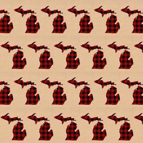 Michigan Peninsula Red Black Buffalo Check Brown Background