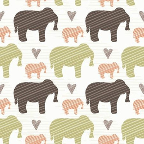 Brown Pink and Green Elephant Silhouette Seamless